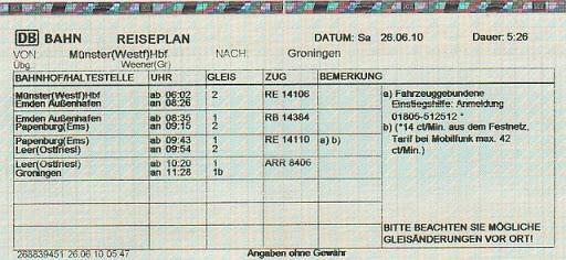 Расписание поездки на железной дороге в Германии