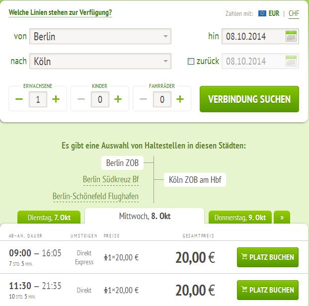 Дешевые автобусные маршруты по Германии
